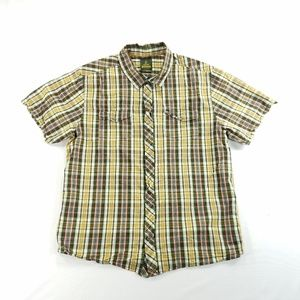 Prana Plaid Snap Button Short Sleeve Casual Shirt
